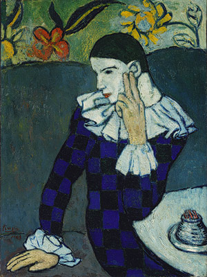 Harlequin (1901) by Pablo Picasso